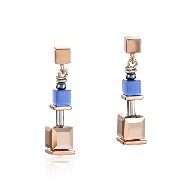 Earrings GeoCUBE® blue-rose gold
