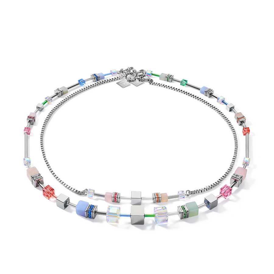 Collier GeoCUBE® Multitask 4-in1 summer multi pastel argent
