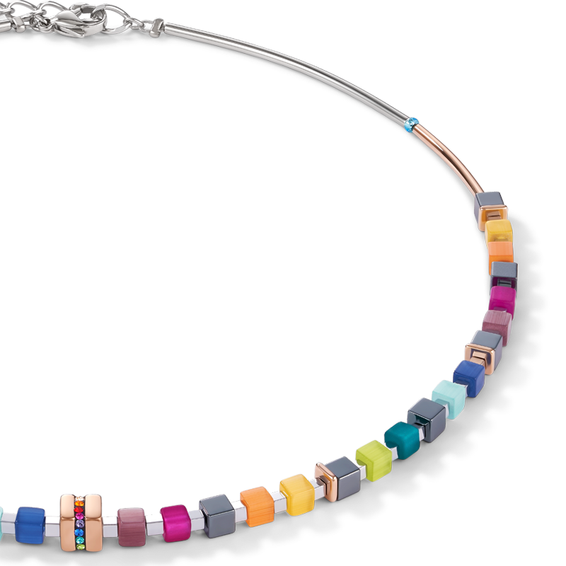 Collier GeoCUBE® Acier inoxydable or rose & cristaux pavé multicolore