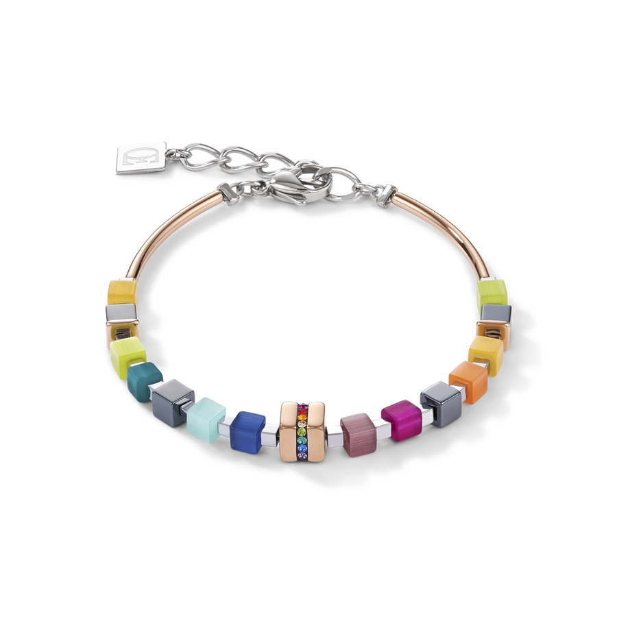 Bracelet GeoCUBE® Stainless steel rose gold & crystals pavé multicolour