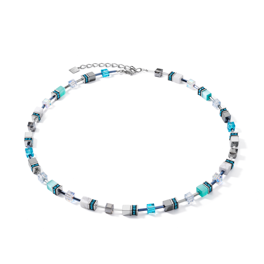 Collier GeoCUBE® medium aqua-blanc