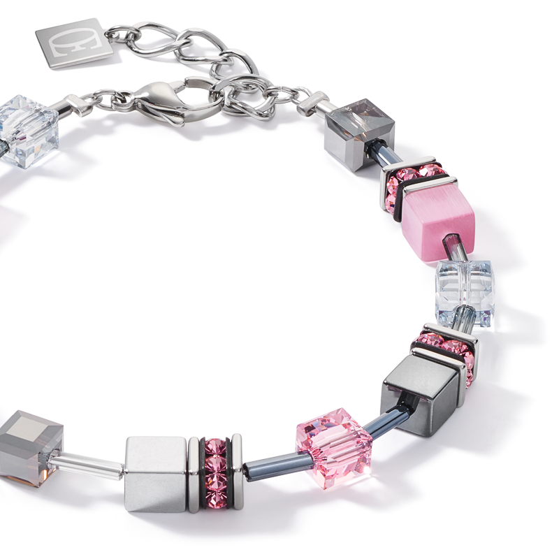 Bracelet GeoCUBE® medium rose-blanc