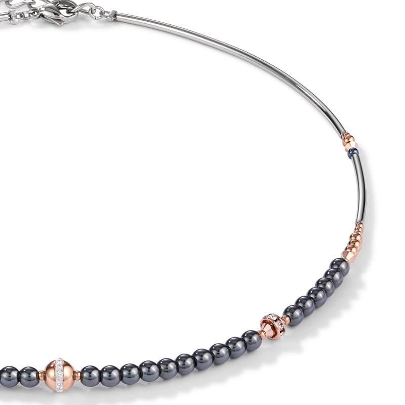Collier Boule acier or rose & hématite anthracite