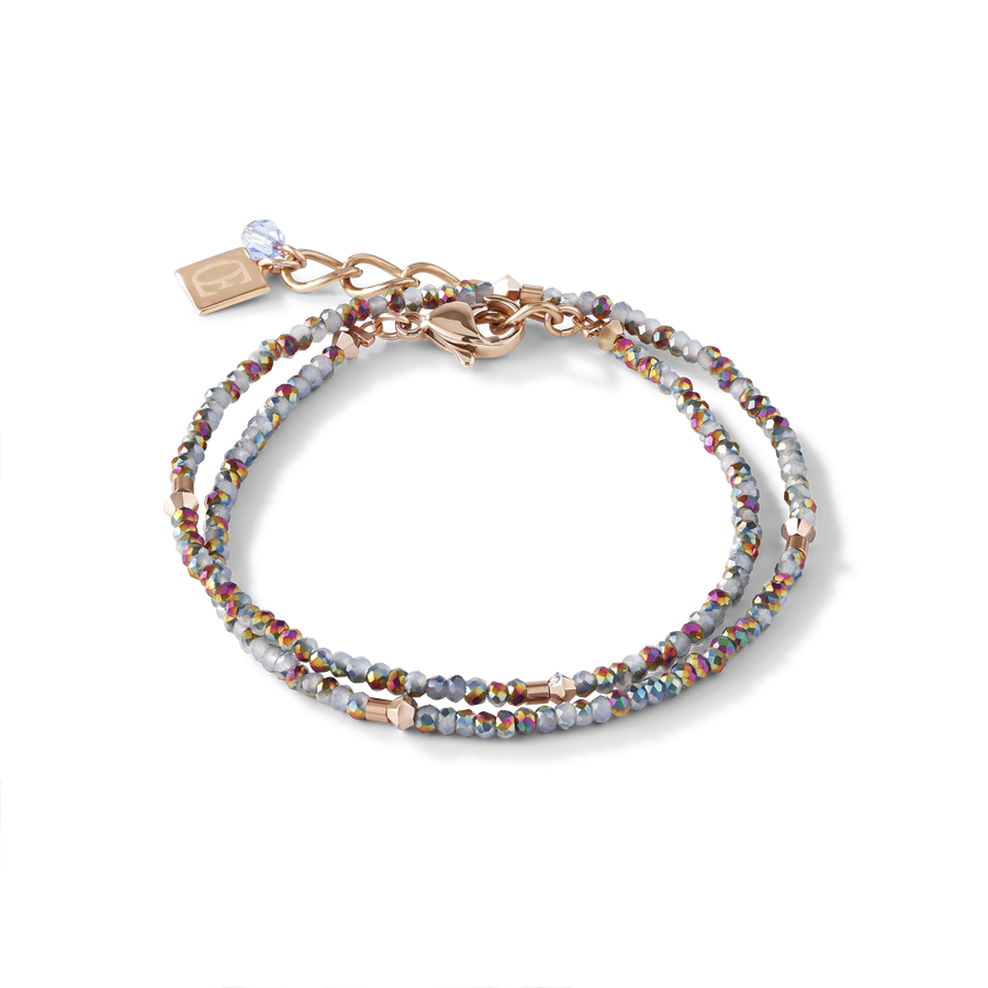 Bracelet small crystal or rose & bleu claire