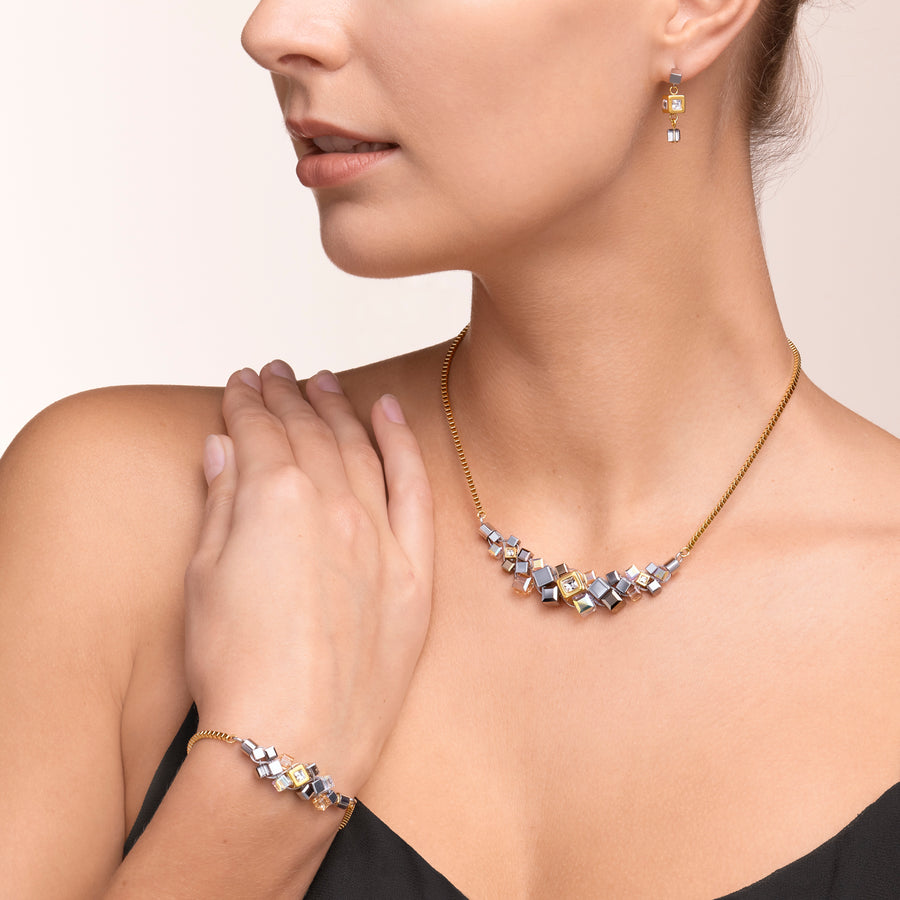 Collier GeoCUBE® cluster or-argent