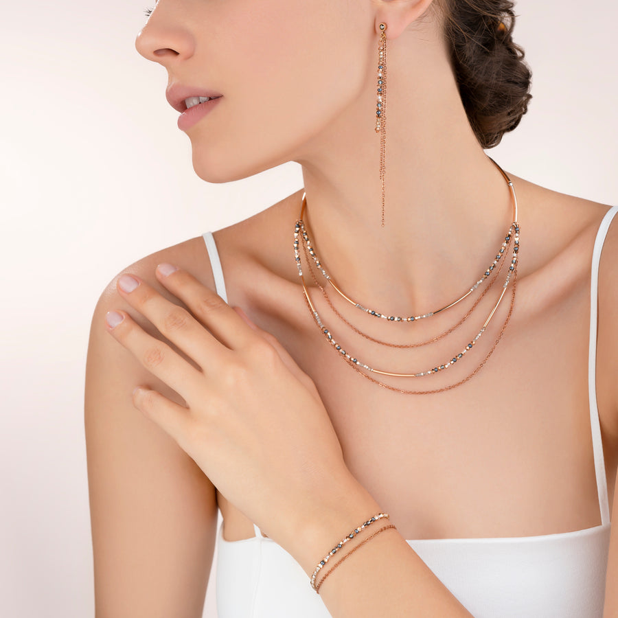 Necklace fine waterfall rose gold-grey