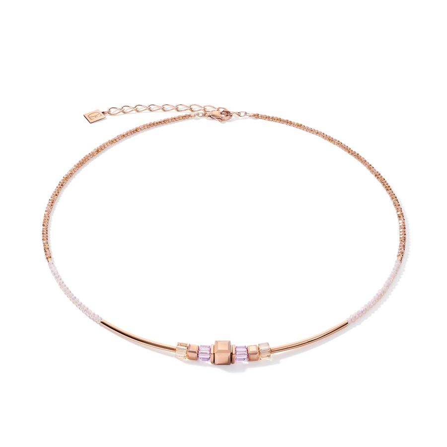 Collier GeoCUBE® frontline or rose-lilas
