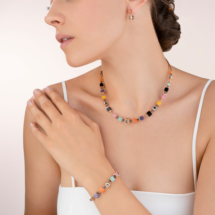 Collier GeoCUBE® Cube acier or rose & cristal multicolore couture