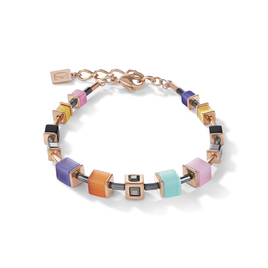 Bracelet GeoCUBE® Cube acier or rose & cristal multicolore couture
