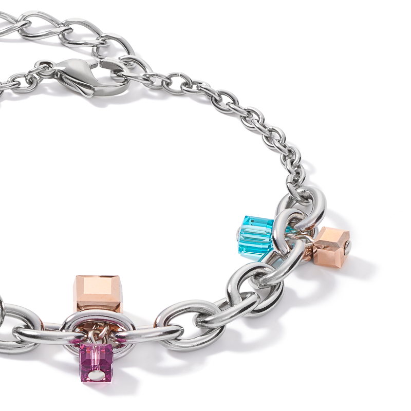 Bracelet casual & chunky chain stainless steel & Swarovski® Crystals silver-multicolour Art Nouveau
