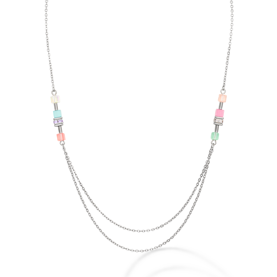 Necklace GeoCUBE® double chain long stainless steel silver multicolour-pastel