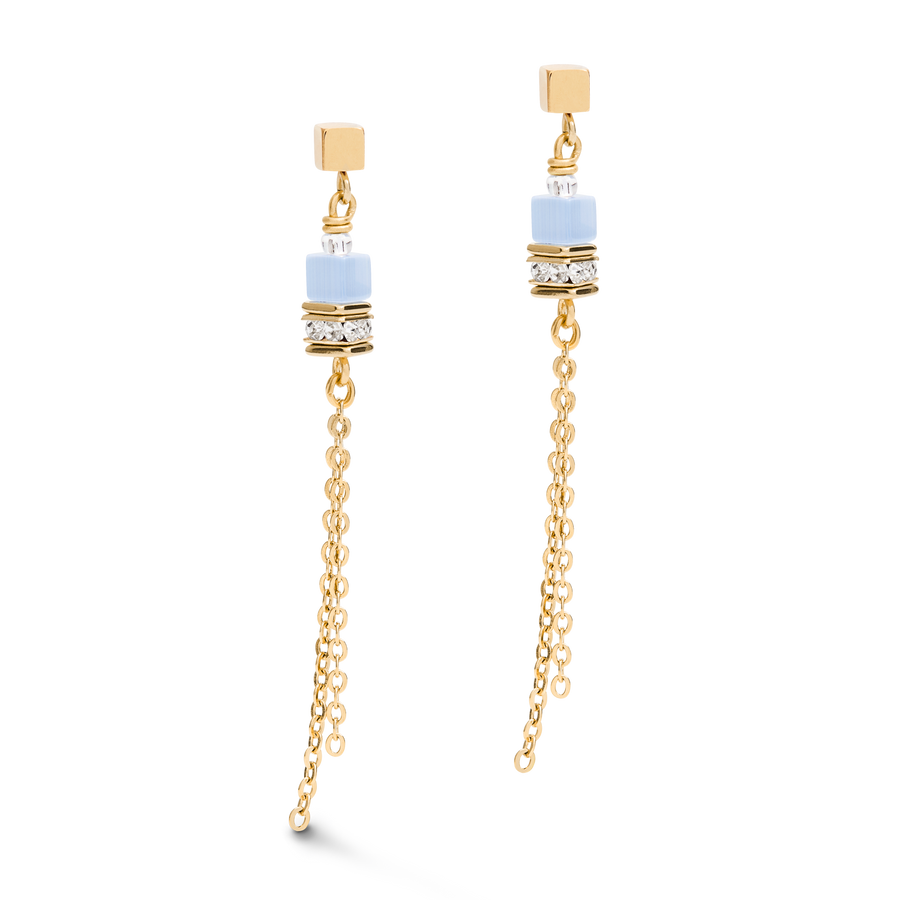 Earrings GeoCUBE® double chain long stainless steel gold-blue