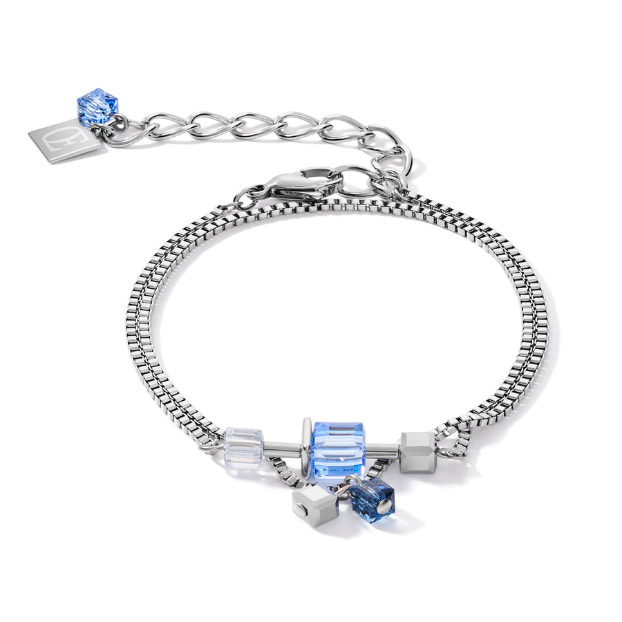 Bracelet GeoCUBE® chain long stainless steel & Swarovski® Crystals silver-blue