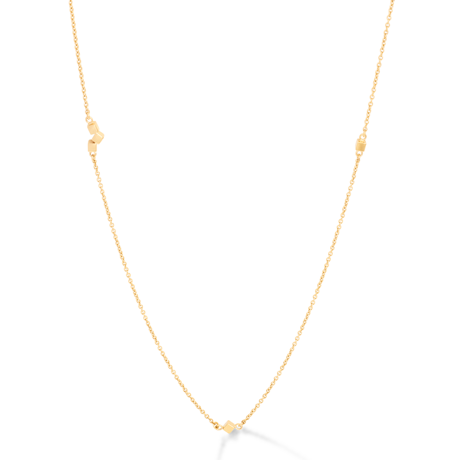 Necklace Dancing GeoCUBE® small chain long stainless steel gold