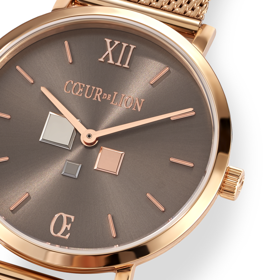 Watch Round Mocha Sunray Milanese Stainless Steel Rose Gold