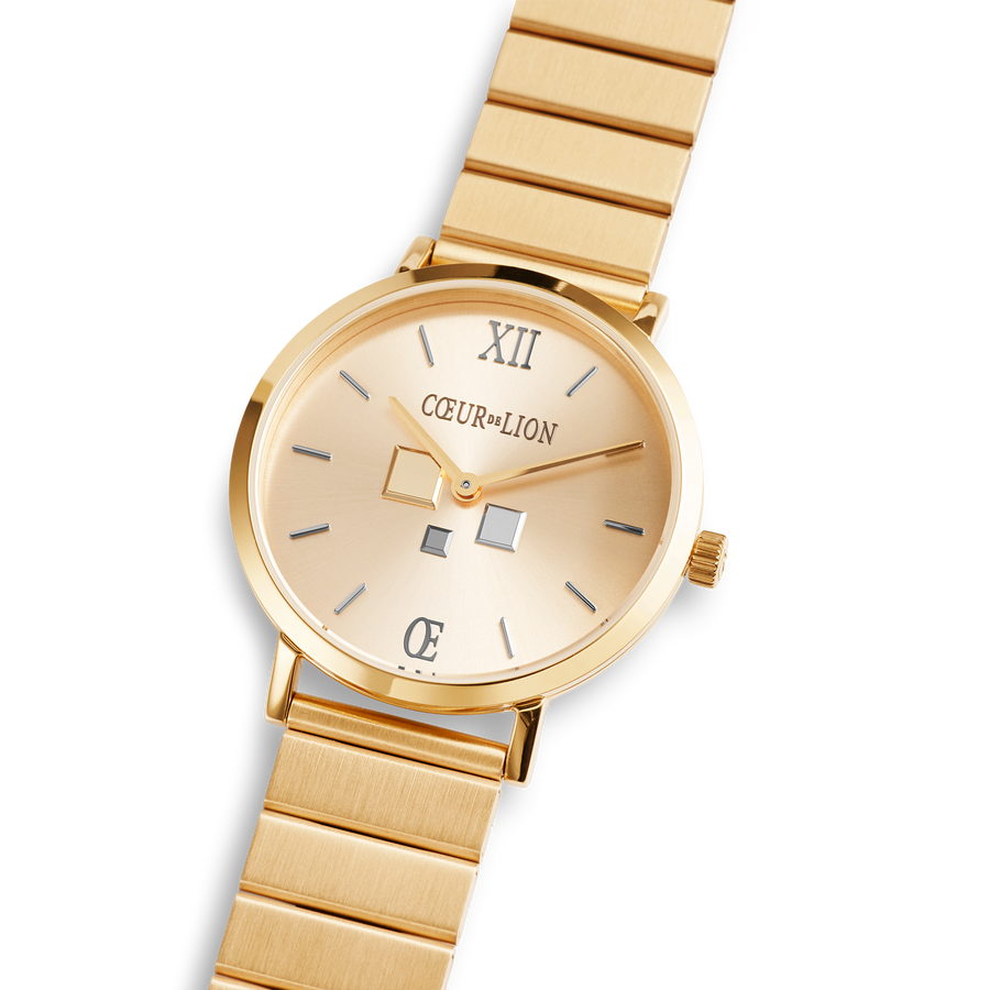 Montre Ronde Gold Sunray Monochrome Acier Inoxydable Or