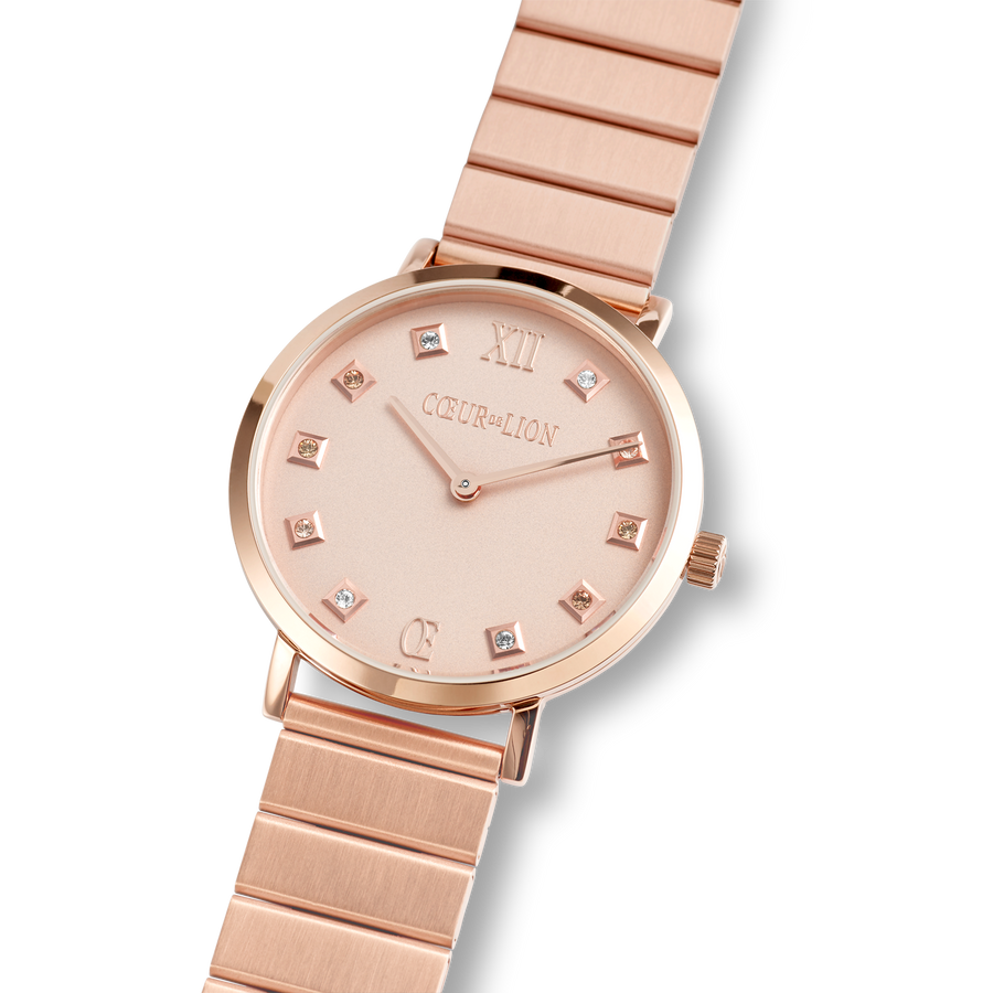Watch Round Rose Gold Matt Monochrome Stainless Steel Rose Gold
