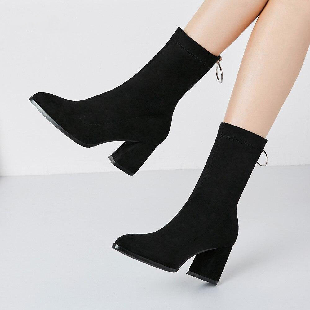 Square Heel Ankle Boots With Zip
