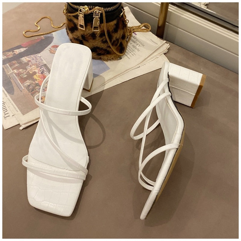 Strappy Square Heel Sandals