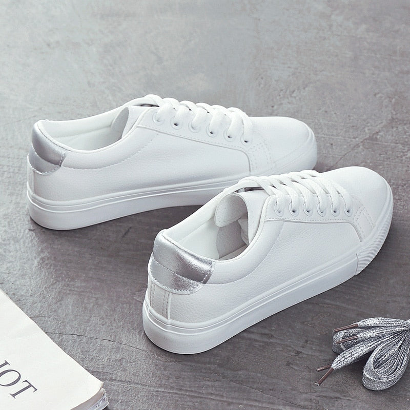 Casual Classic Sneakers In White And Silver