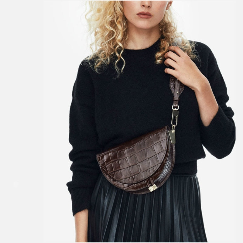 Half Circle Croc Cross Body Bag