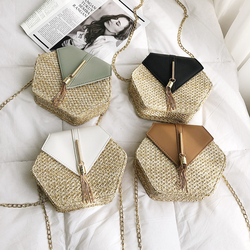 Woven Beach Cross Body Bag With Chain
