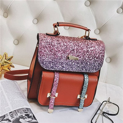 Sequin Backpack With Pocket Detail
