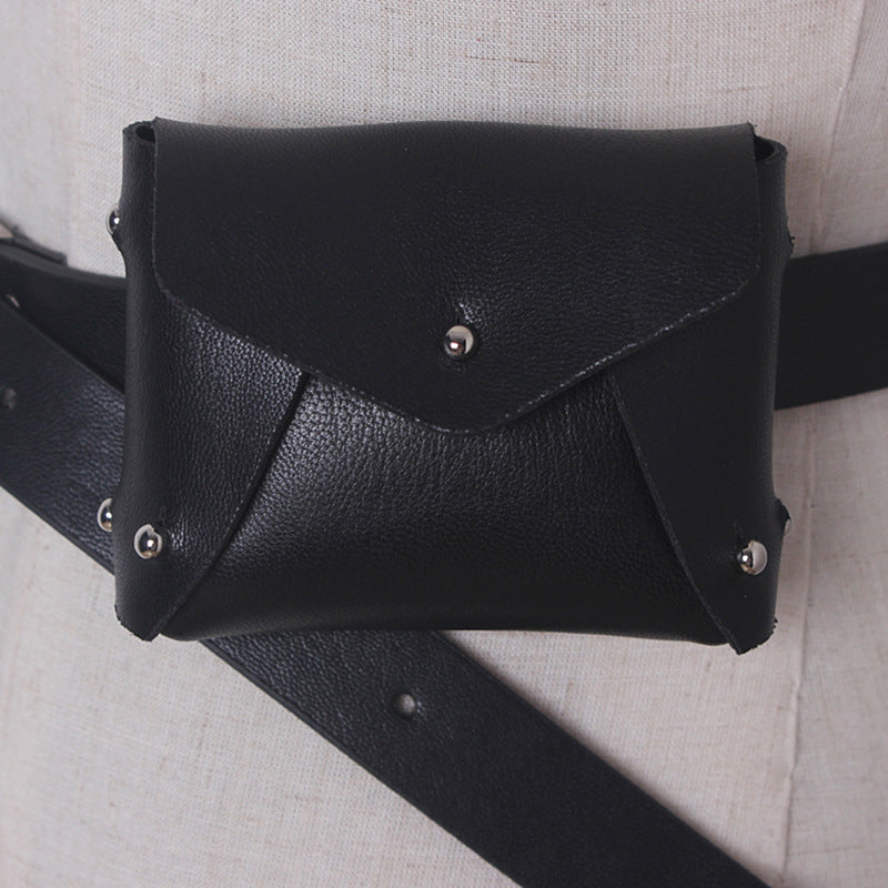 Mini Envelope Belt Bag In Black