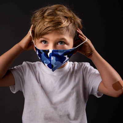 Kids! Blue Camo 2-Pack Daily Face Masks-reNEU Earth