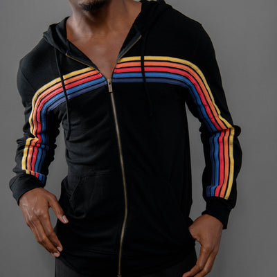 Black Vintage Stripe Hoodie for men and women