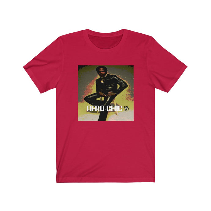 Shaft-Afro-chic blaxloitation film star John shaft. Unisex Jersey Short Sleeve Tee