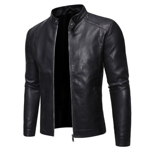 Beggarmand trend vintage black leather jacket.