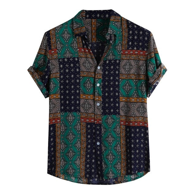 Men Shirt Ethnic Printed Shirts Summer Retro Vintage Streetwear Short Sleeves Loose Button Rayon Blouse Chemise Homme Camisa