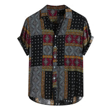 Load image into Gallery viewer, Men Shirt Ethnic Printed Shirts Summer Retro Vintage Streetwear Short Sleeves Loose Button Rayon Blouse Chemise Homme Camisa