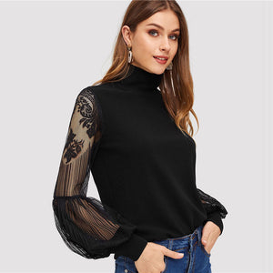 SHEIN High Neck Lace Lantern Long Sleeve Mesh Blouse