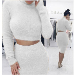 Sweater +Pencil Skirt Suit Long sleeve Fleece Crop Tops Skirt Knitted Tracksuit