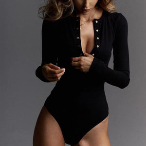 V Neck Knitted Bodysuit Long Sleeve Buttons Rompers