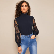 Load image into Gallery viewer, SHEIN High Neck Lace Lantern Long Sleeve Mesh Blouse