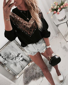 Leopard Sequins Colorblock Insert Casual Long Sleeve Blouse