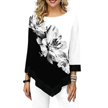 Load image into Gallery viewer, O-Neck Floral Printed Asymmetric Blouse