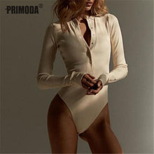Load image into Gallery viewer, V Neck Knitted Bodysuit Long Sleeve Buttons Rompers