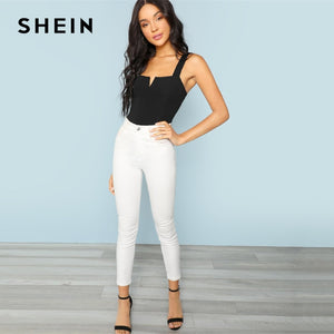 SHEIN Black V-Cut Front Sleeveless Plain Stretchy Bodysuit