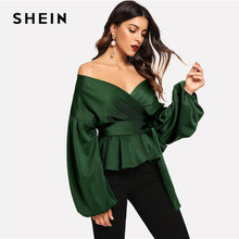 Load image into Gallery viewer, SHEIN Lantern Sleeve Surplice Peplum Solid Blouse