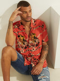 GUESS Eco Orange Rayon Luau Night Mens Shirts front view