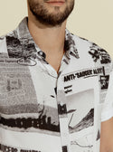 GUESS Eco UFO Newspaper Mens Shirt Front detailed view