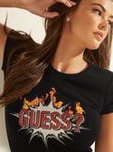 GUESS Graphic Boom Boom Logo Black Womens Tee front detailed  view
