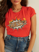 GUESS Graphic Boom Boom Logo Red Womens Tee detailed view