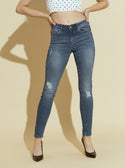 GUESS Mid Rise Skinny Denim Womens Blue Jeans in Dark Blue Wash  front image