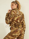 GUESS Kammie Cargo Camo Women's Jacket Back Side View