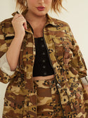 GUESS Kammie Cargo Camo Women's Jacket Front Detailed  View